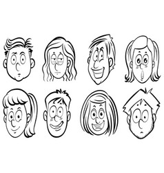 eight faces of human expressions vector image vector image