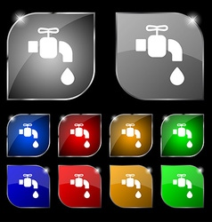 Faucet icon sign set of ten colorful buttons with vector