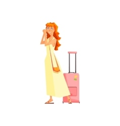 Female tourist with bag vector