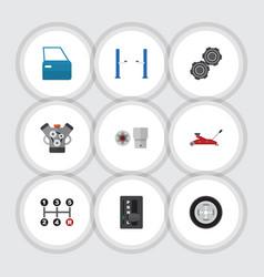 Flat icon workshop set of turnscrew auto jack vector