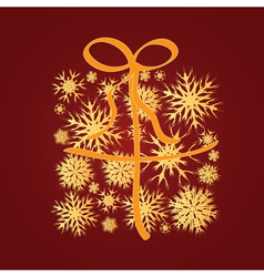Golden snowflakes gift box vector image vector image