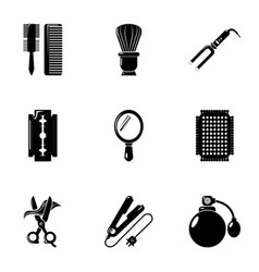 Hairdressing icons set simple style vector