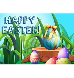 Happy Easter with decorated eggs in the garden vector image