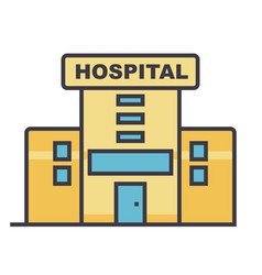 hospital flat line concept vector image vector image