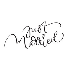 just married words on white background hand drawn vector image vector image
