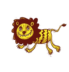 Lion cartoon jumping vector image