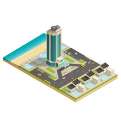 Luxury hotel building isometric composition vector