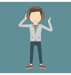 Man listening music through headphones vector