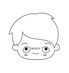 Monochrome silhouette of kawaii head of little boy vector