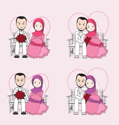 Muslim wedding couple cartoon vector
