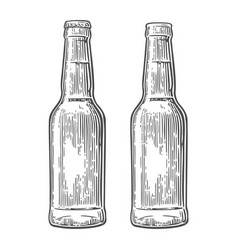 Open and close beer bottle vintage black vector