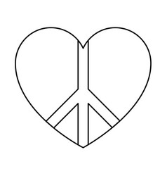 peace symbol with heart vector image