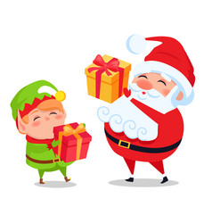 Santa claus and elf helper holds presents in hands vector