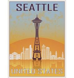 Seattle vintage poster vector
