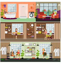 set of spa and massages concept posters vector image vector image