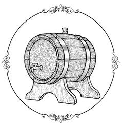 sketch of a wooden wine barrel vector image