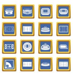 sport stadium icons set blue vector image vector image