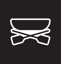 Stylish black and white icon boat and oars vector
