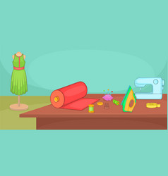 tailor horizontal banner table cartoon style vector image