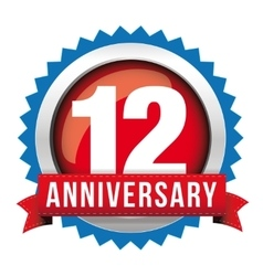Twelve years anniversary badge with red ribbon vector