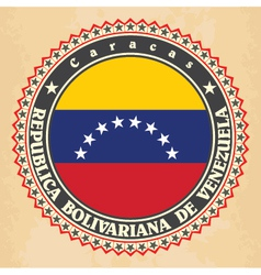 Vintage label cards of venezuela flag vector