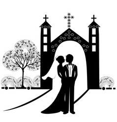 wedding silhouette 9 vector image vector image