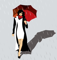 Woman with a red umbrella vector