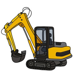 Yellow small excavator vector