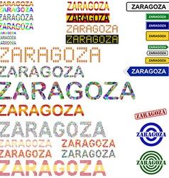 Zaragoza text design set vector