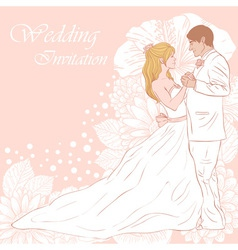 Bride and groom wedding invitation card vector