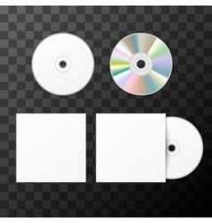 Blank white compact disk from two sides and cover vector