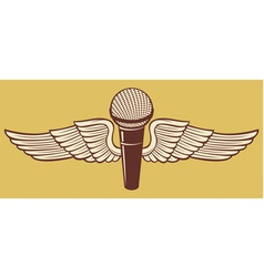 Classic Microphone with wings vector image