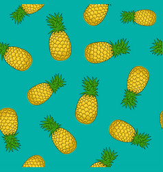 Seamless pattern pineapple on azure background vector