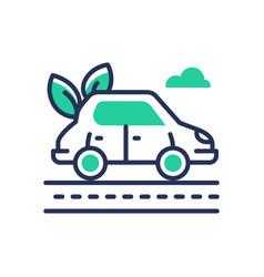 Eco car - modern single line icon vector