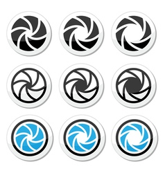 Camera shutter aperture icons set vector image