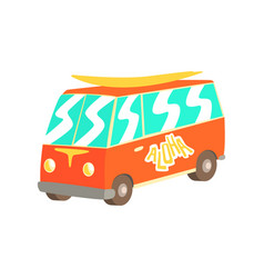 Red vintage surfing van with surfboard classic vector