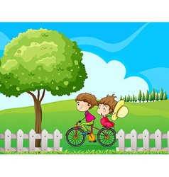 A boy biking with his girlfriend vector