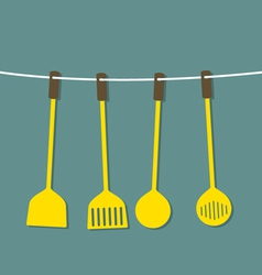 Flat design set of utensils hang on a rope vector