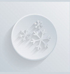 Paper circle flat icon snow vector