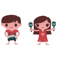 little musicians vector image