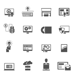 Program development icons black vector