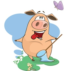 Cute pig farm animal cartoon vector
