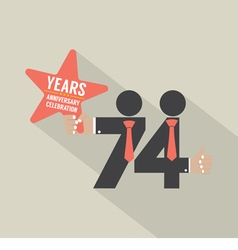 74th years anniversary typography design vector