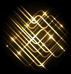 Abstract neon gold background with lines vector
