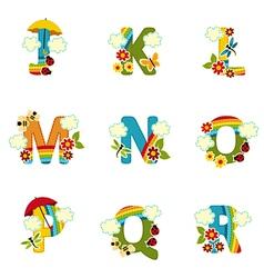 Alphabet rainbow from j to r vector
