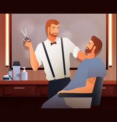 at hairdressers flat composition vector image