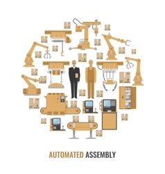 Automated Assembly Round Composition vector image vector image