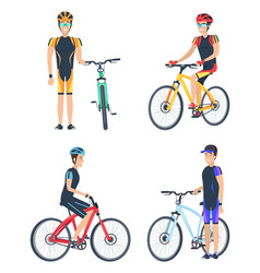 Bicyclist smiling poster set vector