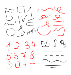 big set of hand drawn numbers arrows for vector image vector image