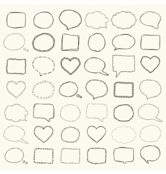 Black hand drawn speech bubbles borders vector